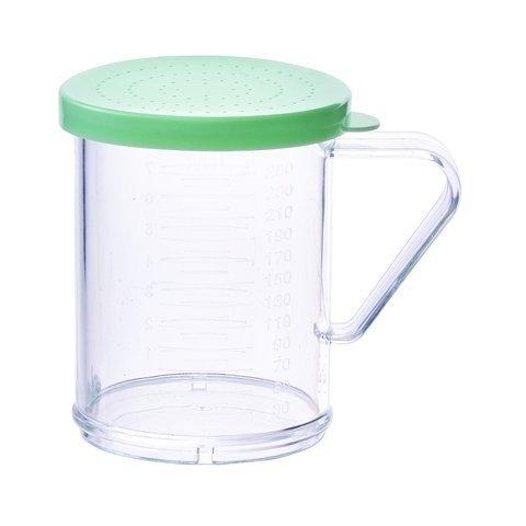 Winco PDG-10G, 10 Oz Plastic Dredge with Green Snap-on Lid, Seasoning Sugar Spice Pepper Shaker
