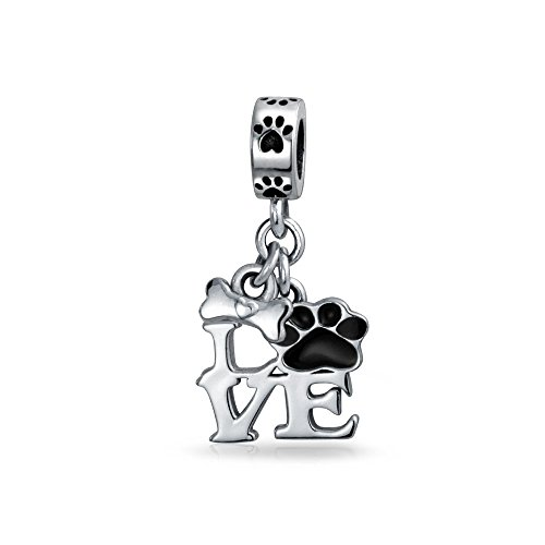 Bling Jewelry Love Dog Puppy Paw Print Enamel Dangle Bead Charm Silver