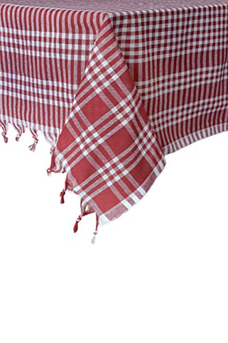 Tablecloth Checkered Buffalo Check Plaid Linen Cotton Picnic Blanket Table Cover Mantel Red (Red, 63x63 inches)]()