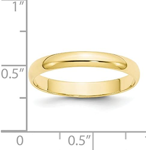 10K Yellow Gold 3mm Light Weight Half Round Band Ring Size 4 to 14