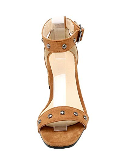 With Solid Buckle tacco Agoolar medioGmxlb009994 scuro Women Marrone con Sandali FclJT1K