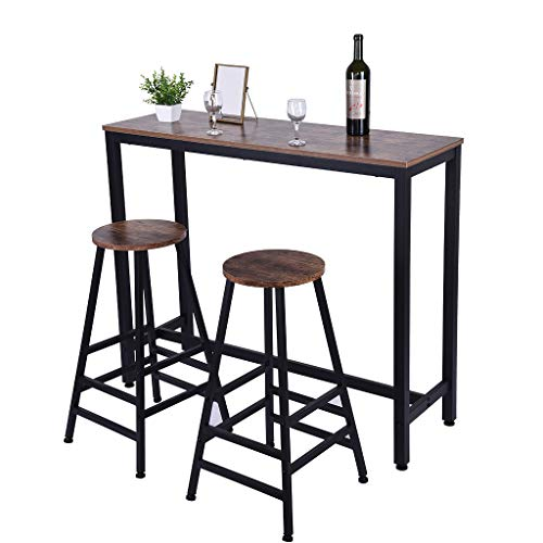 US Fast Shipment Quaanti Pub Bar Table,Counter Height Dining Table,Dining High Top Table,Industrial Kitchen Bar Table Chairs Stools Set for Small Space,Breakfast Nook,Dining Room,Living Room Brown