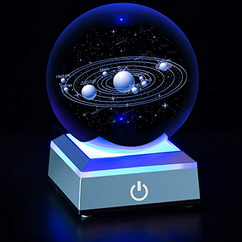 (Solar System Crystal Ball 80mm with 3D Laser Engraved Sun System with a Touch Switch LED Light Base Cosmic Model with Names of Various Celestial Bodies)
