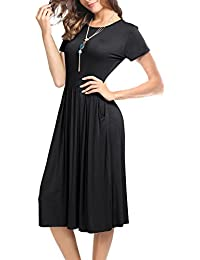 Women's 3/4 Sleeve Pleated Loose Swing Casual Midi Dress with Pockets