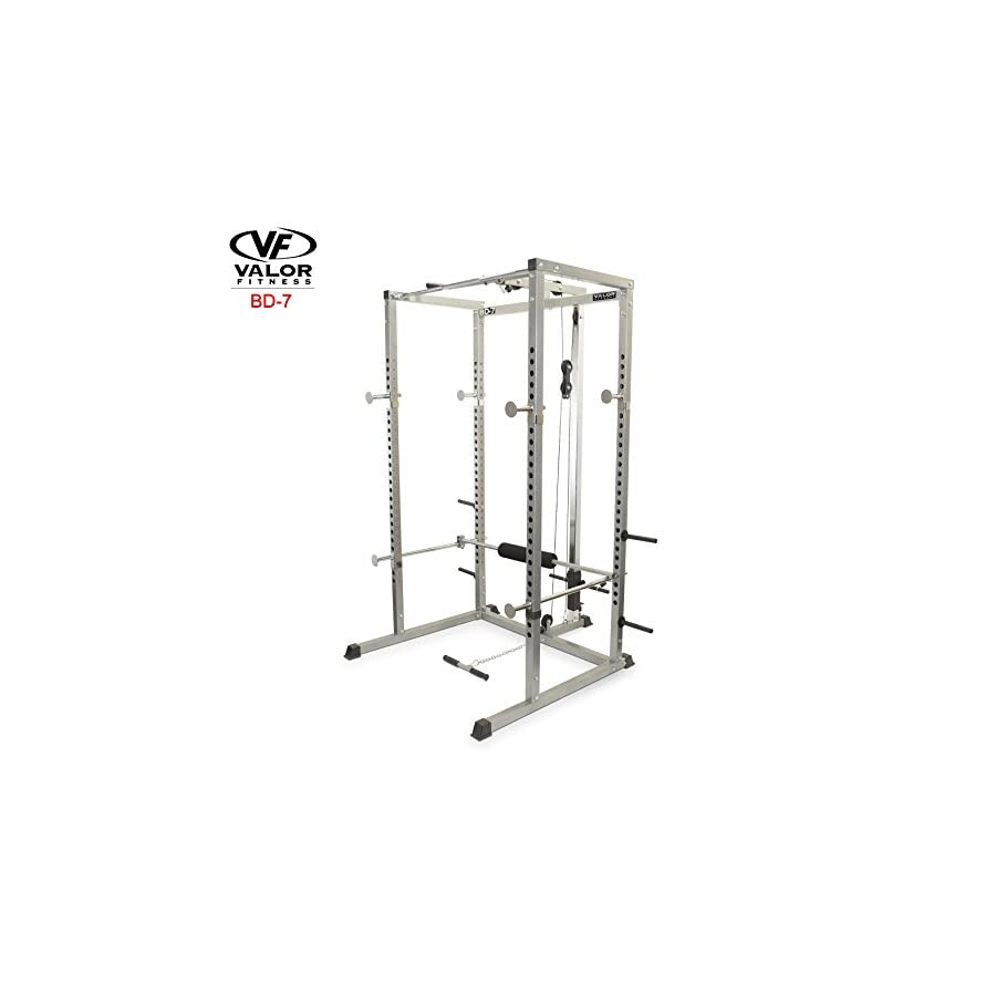 Valor Fitness BD 7 Power Rack with LAT Pull Attachment & Pull Up Station