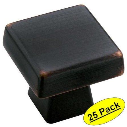 Amerock Cabinet Knob 1-3/16'' H X 1-3/16''W Square Oil Rubbed Bronze 1-1/16'' Proj.