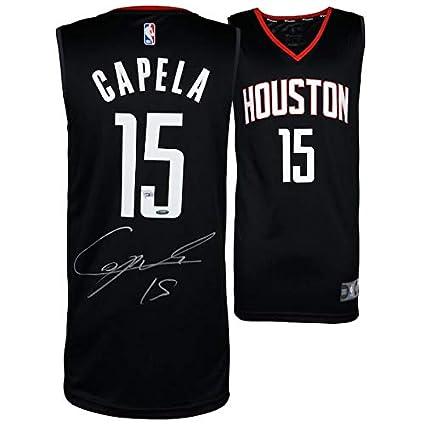 7d8aecf9c3eb Amazon.com  CLINT CAPELA Autographed Houston Rockets Black Fastbreak Jersey  FANATICS TRISTAR  Sports Collectibles