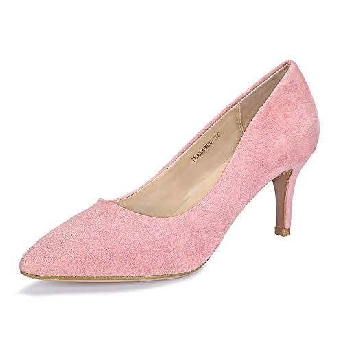 IDIFU Women's IN3 Classic Slip On Pointed Toe Mid Heel Dress Pump (Pink Suede, 9 B(M) US) ()