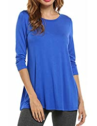 HOTOUCH Women Elbow Sleeve Flowy Tunic Soft Comfy Loose Fit Flare Hem Tops