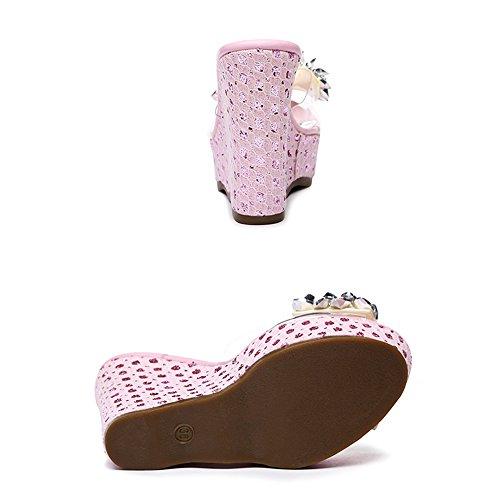 Blanco de dulce Pink Sandalias Nudo Sandalias de 12 abierto FEIFEI del impermeable dedo las mariposa de de diamantes tacón zapatillas pie plataforma del imitación mujeres verano CM alto Color Bohemia 1fZqfxw