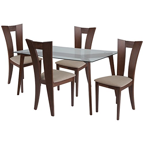 Flash Furniture Huntington 5 Piece Walnut Wood Dining Table Set with Glass Top and Slotted Back Wood Dining Chairs - Padded Seats Clear/Walnut/Beechwood ()
