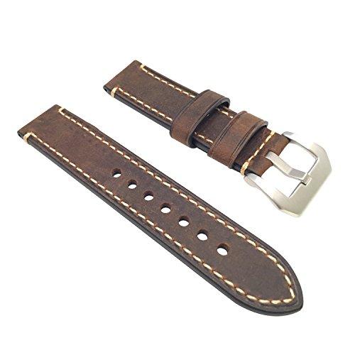 W&S 2-Piece Leather Watch Strap (22mm, Dark Brown)