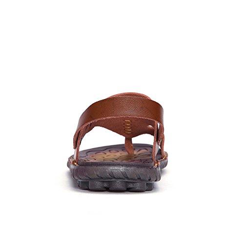 Ring Flat Slide Dual Back Beach Strap EnllerviiD Sandal ShoesBrown 8 Men Toe US Use D M Sandals 5 YBK2668zongse42 Clip tqBIx