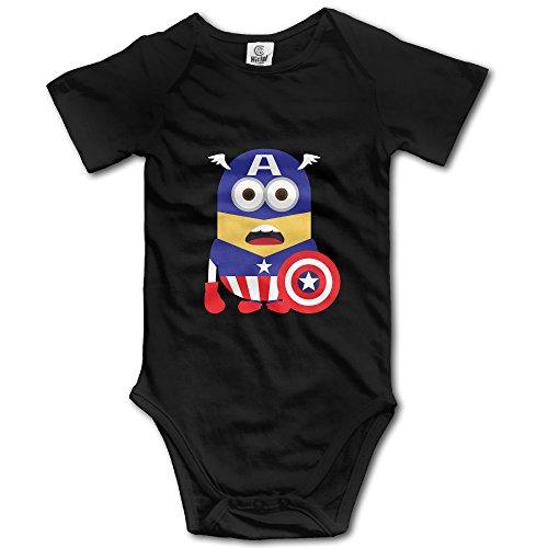 Kids Captain America Minions Baby Bodysuits Rompers Little Boys Girls 100% Cotton 6 M Black (Kids Minion Suit)