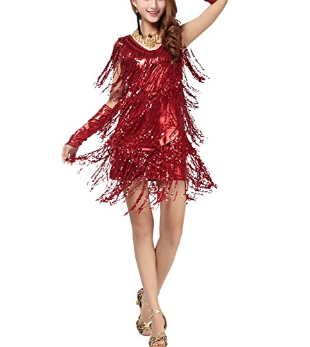 Sparkly Sequence Fringe 1920's Gatsby Fashion Flapper Dresses Costumes Prom , Red, 8/10 (Red Fringe Flapper Costume)