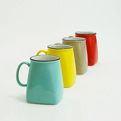(Made By Humans Square Round Mugs, Unique Ceramic Drinking Mugs for Coffee, Tea, Cocoa, Cool and Unusual Novelty Mug Gift Set, 16 oz, Set of 4 Assorted Colors)