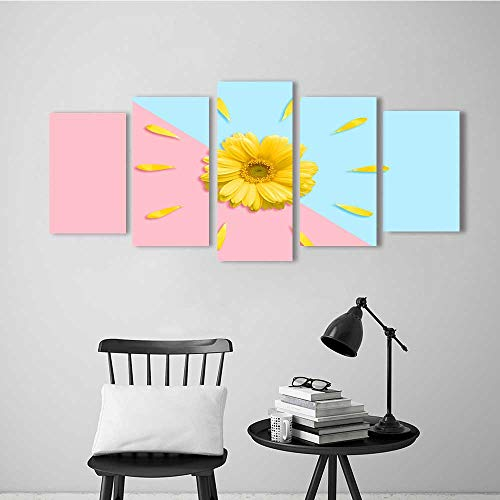 Five Pieces Wulian Painting Living Room Decoration Frameless Small Fresh Daisies for Living Room Office Decor Gift ()