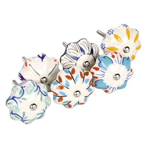 One Drawer Cupboard - uxcell 6 Pieces Vintage Shabby Chic Knobs Colorful Floral Hand Painted Ceramic Pumpkin Cupboard Wardrobe Cabinet Drawer Door Handles Pulls Mixed Color #1