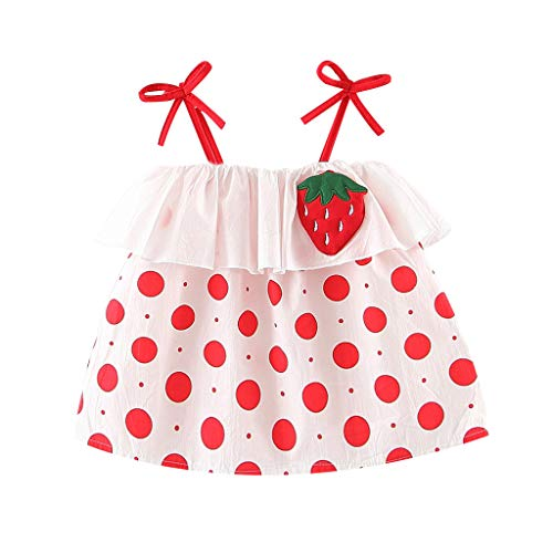 Fauean Baby Girls Summer Dress Outfits Ruffle Strap Print Tutu Skirt Sunsuit Beachwear Clothes Set White