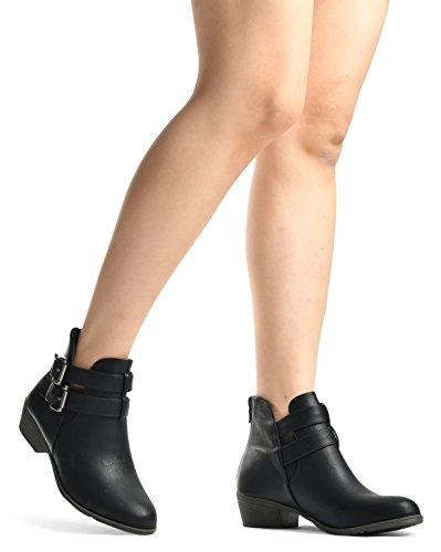 Lusthave Mujeres Buckle Straps Stacked Low Chunky Botines De Tacón Alto Parker Botas De Black 5
