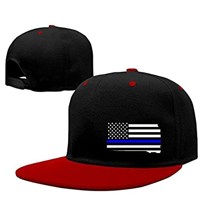 South Dakota State Map Element Shape Thin Blue Line Design Solid Flat Bill Snapback Baseball Cap Hip Hop Unisex Custom Hat.