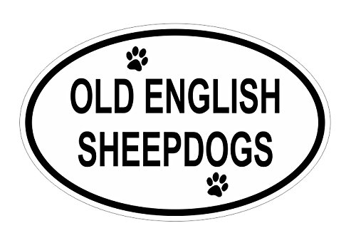 Old English Sheepdogs Oval Vinyl Decal Sticker