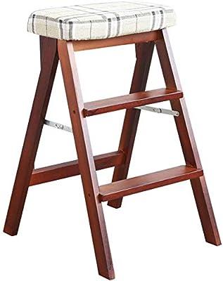 HOMRanger Taburete Plegable Escalera de Mano de Madera Maciza Simple Silla de Escalera portátil Biblioteca multifunción Home Taburete Escalera Carga máxima 100 kg / 42x48x64 cm (Color: Color Nogal): Amazon.es: Hogar