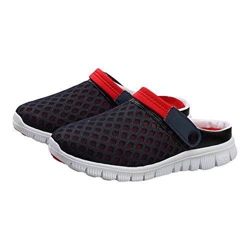 G-LIKE - Zapatillas de estar por casa de Caucho para hombre Blue-Red