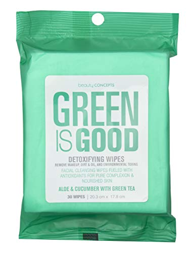 Beauty Concepts Detoxifying Aloe, Cucumber and Green Tea Facial Makeup Remover Wipes Removes Dirt, Oil and Environmental Toxins - Pack of 30 Wipes (Green Makeup Remover)