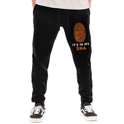 Mens Jogger Sweatpants Basketball It's in My DNA Fingerprints Casual Stretch Cotton Fleece Sweatpants Black for $<!--$39.66-->