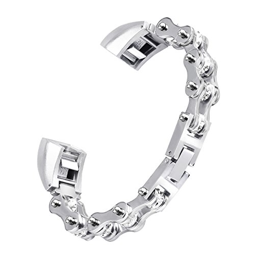 - For Fitbit Alta Bands, Fitbit Alta HR Band by NaHai- Replacement Bicycle Chain Style Metal Wristband with Diamond for Fit Bit Alta and Alta HR Small Large (Silver, Large(7.5