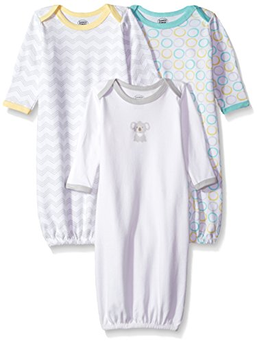 Luvable Friends Baby 3 Pack Cotton Gown, Koala, 0-6 Months
