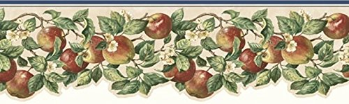 Blossom Wallpaper Apple - Wallpaper Border Apple Blossom Trail Red Green Blue Edge on Tan Die Cut Bottom