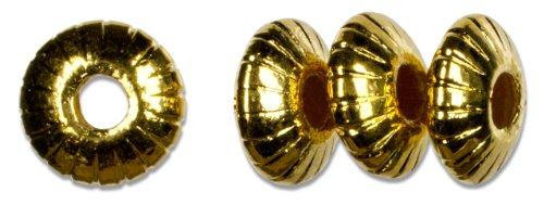 Cousin Gold Elegance 14K Gold Plate Fluted Saucer Bead, 4-Piece