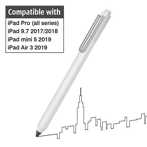 MoKo Active Stylus Pen Fit with iPad, High Sensitivity Rechargeable Pencil Capacitive Digital Pen Compatible with iPad Pro 9.7/10.5/11/12.9,iPad Mini 5/iPad Air 3 2019,iPad 9.7 2017/2018 - White