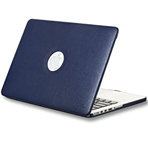 "Kuzy Navy BLUE LEATHER Hard Case for Older MacBook Pro 13.3"" with Retina Display A1502/A1425 Shell Cover Leatherette - Navy BLUE"
