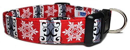 Adjustable Dog Collar in Red with Scrolls and Christmas Snowflakes (U.S.A. Made) ()
