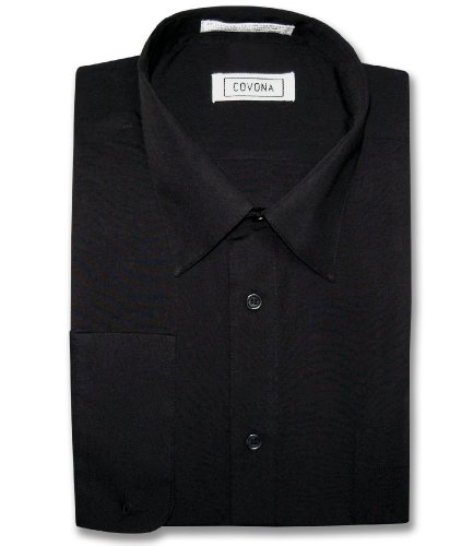Men's Solid Black Color Dress Shirt w/ Convertible Cuffs