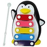 Yinpinxinmao Baby Kids 5 Tones Cartoon Penguin Xylophone Hand Knock Musical Instrument Toy Black