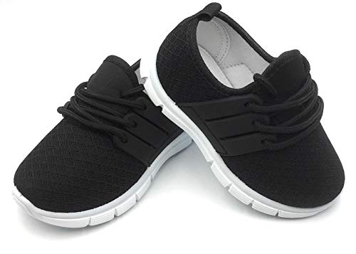 Bless Children Baby Toddlers Boy's Girl's Breathable Fashion Sneakers Walking Running Shoes,Black502.Size 5 by Bless Children
