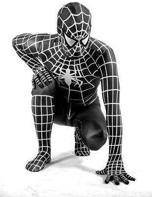 Disfraz de Spiderman con traje negro para adultos, unisex, licra ...