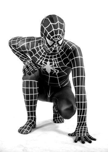 Disfraz de Spiderman con traje negro para adultos, unisex, licra, de cuerpo entero, para Halloween