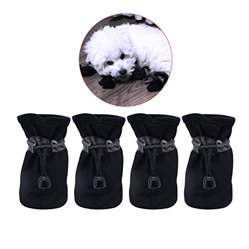 YAODHAOD Dog Boots Paw Protector, Anti-Slip Dog Shoes,These Comfortable Soft-Soled Dog Shoes are with Reflective Straps, for Small Dog (4, Black)