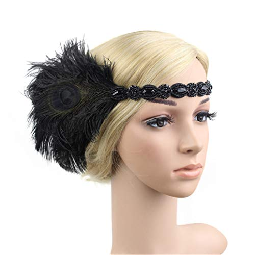 Art Deco 1920s Flapper Feather Headpiece Roaring 20s Great Gatsby Headband for Women -