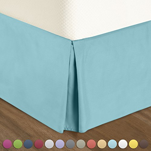 "Bedskirt Dust Ruffle (Pleated Bed-Skirt Full Size – Light Blue (Aqua) Luxury Double Brushed 100% Microfiber Dust Ruffle, 14"" inch Tailored Drop, Covers Bed Legs and Frame. By Nestl Bedding)"