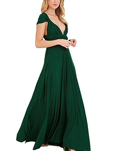 Clothink Women Dark Green Wrap High Waist Evening Gown Dress Dark Green - Sheer Evening Gown Halter
