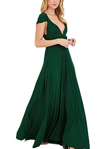 Clothink Women Dark Green Wrap High Waist Evening Gown Dress Dark Green Small