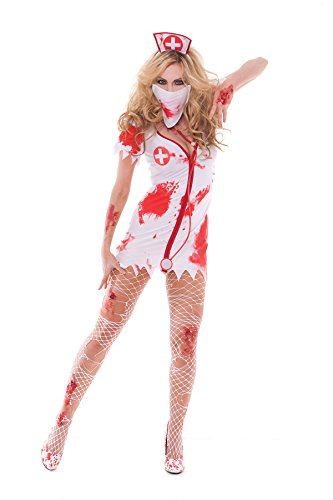 Womens-Bloodbath-Nurse-Babe-Costume-Four-Piece-Set
