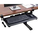 "TechOrbits Keyboard Tray Under Desk – 27"" Clamp On Keyboard Drawer Computer Stand – Ergonomic Mouse & Keyboard Sliding Tray Computer Desk Extender"
