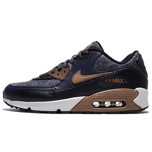 Nike Men's Air Max 90 Thunder Blue/Ale Brown/Obsidian Leather Casual Shoes 9.5 D(M) US